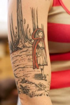 Little Red Riding Hood tattoo on forearm