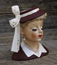 Vintage 1956 Lucille Ball Napco Head Vase sits on my shelf Vintage Planters, Vintage Vases, Vintage Glassware, Ceramic Lady Heads, Mini Vase, Head Head, Vintage Mannequin, Head Planters, Vintage Mermaid