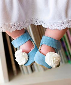 Love this Gracious May Blue & Ivory Carnation Mary Jane by Gracious May on #zulily! #zulilyfinds