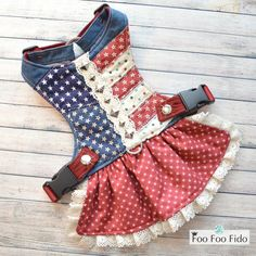 Americana Dog Harness Dress This harness dress is so fun and Patriotic! It is in blue denim fabric, Leather Harness, Dog Harness, Patriotic Dresses, Dog Carrier, Fancy, Denim Fabric, Star Print, Crochet Lace, Small Dogs