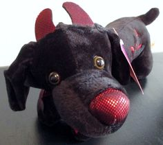 Dan Dee Dachshund Halloween Lil Devil Costume Black Wiener Dog Plush Toy  #DanDee
