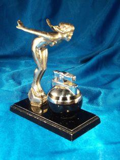 Ronson De-Light Ball Lighter & Nude Lady Statue, Art Metal Works 1930 s