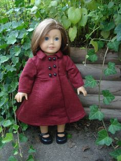 American Girl Doll Clothes, Red Doll Coat, Winter Doll Clothes, fits 18 Inch Dolls