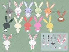 cute bunny rabbit vector $3.00
