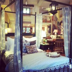 We are loving this! John Robshaw Lapis curtain panels hung from our Four Poster Bed...dreamy