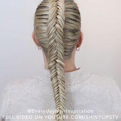 Hairdo For Long Hair, Easy Hairstyles For Long Hair, Diy Hairstyles, Dutch Fishtail Braid, Fishtail Braid Hairstyles, Braids Step By Step, Girl Hair Dos, Vivid Hair Color, Different Braids