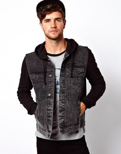 ASOS Denim Jacket With Jersey Sleeves at asos.com 1ad3db382