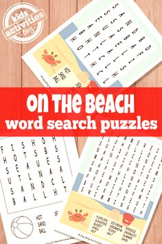 Free beach inspired word search puzzles for kids. Practicing literacy at home should be fun! Car Activities, Activities For Adults, Printable Activities For Kids, Summer Activities For Kids, Writing Activities, Free Printables, Language Activities, Beach Words, Hard Words