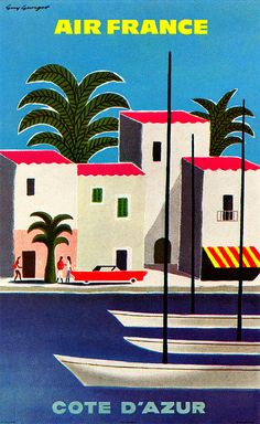 Guy Georget Illustration - One of a series of posters for French tourist centers, issued by Air France - From Graphis Annual 62/63