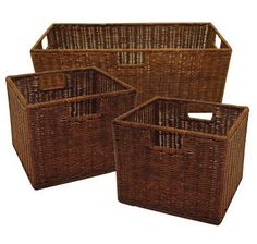 Winsome Wood Leo Storage Baskets, Set of Walnut: This set of three wicker baskets, one large and two small, is ideal for use with the Espresso Wide and Narrow Storage Shelves. Made from durable wicker, they are practical as well as elegant. Decorative Storage, Wood Storage, Storage Baskets, Storage Shelves, Storage Organization, Storage Ideas, Organizing Tools, Decorative Baskets, Organization Skills