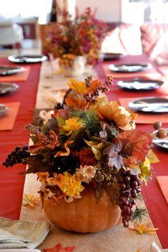 tischdeko erntedankfest kürbis vase arrangement