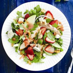 Grilled chicken and strawberry salad  This easy, no-fuss dish starts with grilled chicken right off the barbecue. Fresh strawberries and Granny Smith apples add the sweet-tart complement to this light, summer fare.