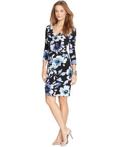 Ralph Lauren Black Fl Print Cowl Neck Dress Taille 42 Ref 3433