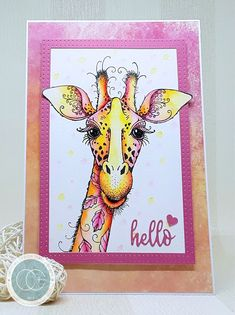 Hi everyone 💜 I have some exciting new, I am now a member of the Craft Consortium Design Team. Marker Kunst, Copic Marker Art, Giraffe Pictures, Animal Art Projects, Happy Paintings, Ink Stamps, Animal Cards, Watercolor Cards, Art Journal Inspiration
