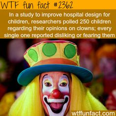 Kids hate clowns - WTF fun facts thanks to horror or violent movies including clowns next: bad Santa