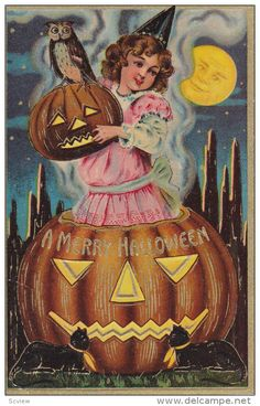 HALLOWEEN, PU-1911; A Merry Halloween, Little Girl In A Jack O Lantern - Delcampe.com