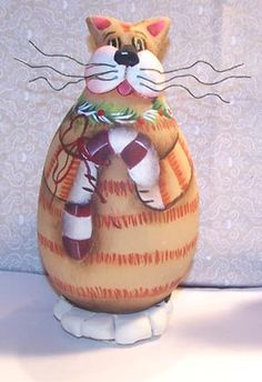 Clay Cat Gourds with Paper clay  Painting by Paintingonjars, $6.00