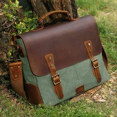 Leather Vintage Messenger Bag for 15.6 inch laptops,Satchel Briefcase Bag  for Men and Women Green 97c721ae70