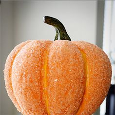 """Cover a pumpkin with glue and epsom salt for a sparkle that's more classic-looking than glitter ."" - Cute for mini pumpkins on tables."