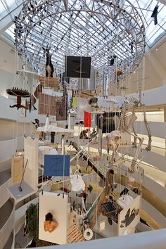 Maurizio Cattelan Hangs Ostriches And Horses From The Guggenheim's Ceiling #mauriziocattelan #arte #istallazioni