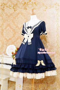 outlet store 4e6ff 7876b Navy Blue Lolita OP Dress Sailor College Style  62.99-Cotton Lolita Dresses  - My Lolita
