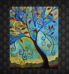 """Abstract Tree Painting """"Leaning Tower"""" 30x24"""