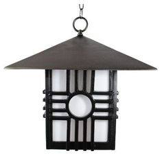 "Melissa Americana 1 Light Outdoor Hanging Lantern Finish: Architectural Bronze, Size: 15"" H x 12.5"" W"