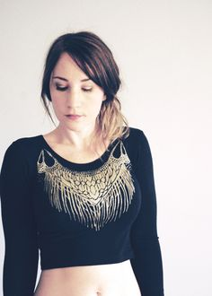 Devi Crop top - Long sleeve Black and Gold Top - By Simka sol by SimkaSol on Etsy https://www.etsy.com/listing/211140996/devi-crop-top-long-sleeve-black-and-gold