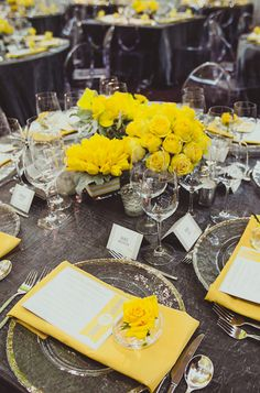 Modern grey and yellow tablescape {Photo by IQPhoto Studio via Project Wedding}