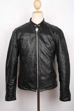 Vtg 60s Black STEERHIDE Leather Motorcycle Jacket CAFE RACER Medium 38/40