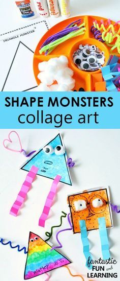 Shape Monster Collage Art Printable Set-Such a fun way to integrate math and process art Learning Shapes for Toddlers Learning Shapes, Fun Learning, Learning Activities, Learning Spanish, Preschool Lessons, Preschool Activities, Preschool Kindergarten, Preschool Learning, Nursery Class Activities