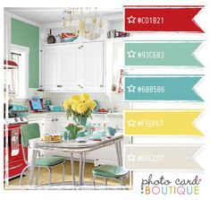 A subtle nod to retro - red, aqua, yellow and teal blue... Skip the aqua so it's not so retro. Want a more beachy/fresh vibe. I'm thinking I like this kitchen color scheme.
