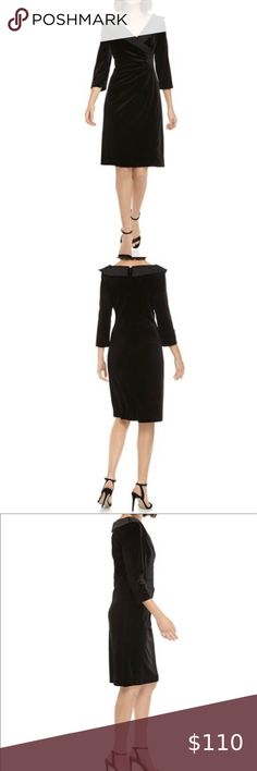 "Tahari ASL black velvet and satin dress SZ… Tahari Black Velvet tuxedo style dress with satin Trim.   New with tags  - Size 6  - invisible zip closure - V- neck - 3/4 sleeves - 38"" in length Tahari Dresses Midi"