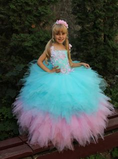 Pink Turquoise Yellow White Flower Girl Dress by Butterflydressua
