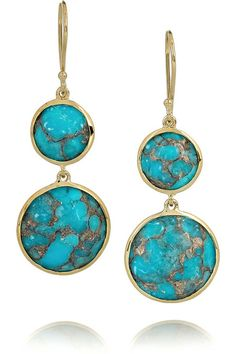 turquoise jewelry | Ippolita earrings have two faceted bronze turquoise stones at drop and ...