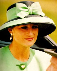 The Princess of Wales at Royal Ascot on June 16, 1992. She wore the same suit and hat a month later on July 18 for the wedding of Lady Helen Windsor and Tim Taylor.