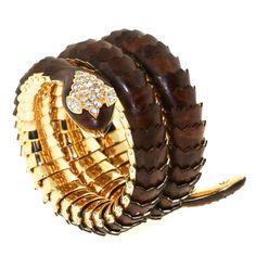 Illario Mahogany Gold and Diamond Coiled Serpent Bracelet
