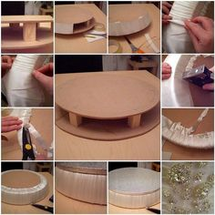 The wedding cake stand in the making ... 1. Start with two circles of MDF 2. Spacers screwed into place. 3. Cover the gaps between the two circles in white card. 4. All covered, doesn't matter if not very tidy! 5. Prepare pleats and pull thight! 7. Staple gun them in place! 8. Trim off the excess fabric. 9. Glue on a circle of white card to cover the staples and neaten it all off. The silver cake board is not fastened to the stand, It's placed so you can imagine a cake on top!