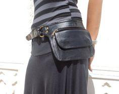 Leather Utility Belt, Leather Belt Bag, Hip Bag, Pouch Belt, Pocket Belt in Black- * Free Ship Leather Utility Belt, Leather Belt Bag, Leather Purses, Leather Accessories, Leather Jewelry, Holster, Black Tees, Diy Mode, Belt Pouch
