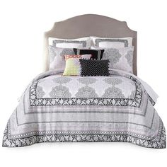 Jessica Simpson Asana Comforter Set ($172) ❤ liked on Polyvore featuring home, bed & bath, bedding, comforters, beds, black, king comforter, king pillow shams, black king size comforter and twin comforter sets