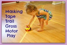 Masking Tape Trail Gross Motor Activity, great for gross motor play inside while it's too hot to get outside!