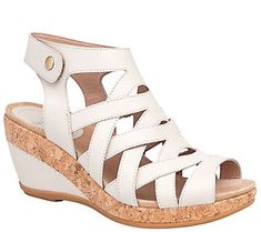 45a61298f132 Dansko Open-Toe Wedge Leather Sandals - Cecily Leather Wedge Sandals