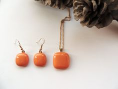 fused glass necklace and earringsorange by Homeforglasslovers, $25.00