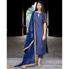 A straight cut silk kurta , teamed with narrow silk brocade pants and georgette dupatta with lace. Look for the Navy Blue Brocade Set… Silk Kurti Designs, Salwar Designs, Kurta Designs Women, Kurti Designs Party Wear, Salwar Kameez Neck Designs, Neck Designs For Suits, Dress Neck Designs, Stylish Dress Designs, Designs For Dresses