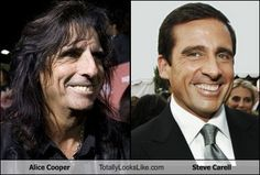 Alice Cooper looks like Steve Carell - 10 Funny Look-Alikes Celebrity Look Alike, Celebrity Pictures, Awkward Moments, Funny Moments, Then And Now Pictures, Steve Carell, Alice Cooper, Genetics, Make You Smile