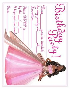 BARBIE COLORING PAGES: BARBIE INVITATIONS