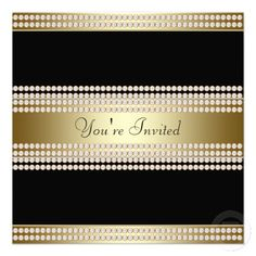 Black Gold Black Tie Party Corporate Party Personalized Invites