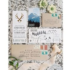 Gorgeous Montana wedding invitation. Rustic, woodsy and chic. Envelope calligraphy by Cast Calligraphy & Design. Invitation design by Feeling Free.
