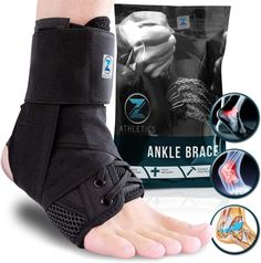 Zenith Ankle Brace, Lace Up Adjustable Support for Men, Women, and Chi Ankle Pain, Sprained Ankle, Compression Sleeves, Plantar Fasciitis, Injury Prevention, Velcro Straps, Lace Up, Running