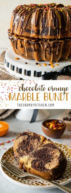 This moist, tasty Chocolate Orange Marble Bundt can be made in any pan, but is extra festive stacked as a fun fall pumpkin! Drizzle it with ganache and orange glaze for even more flavor! via @crumbykitchen